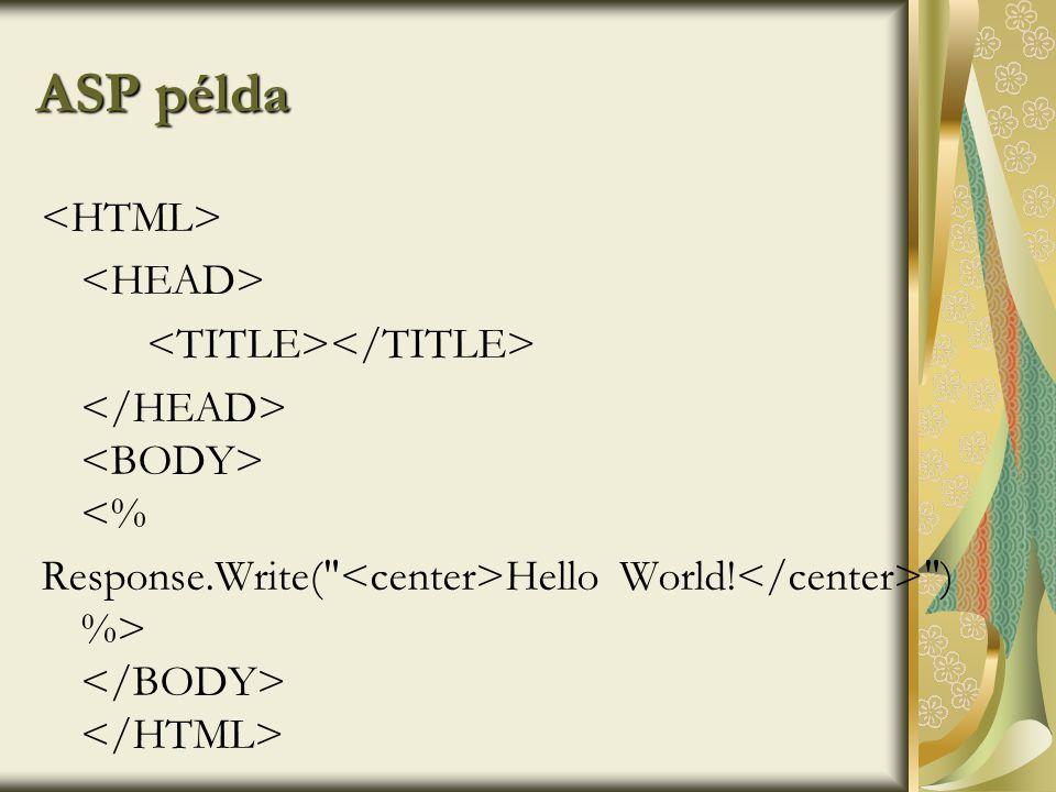 ASP példa <% Response.Write( Hello World! ) %>