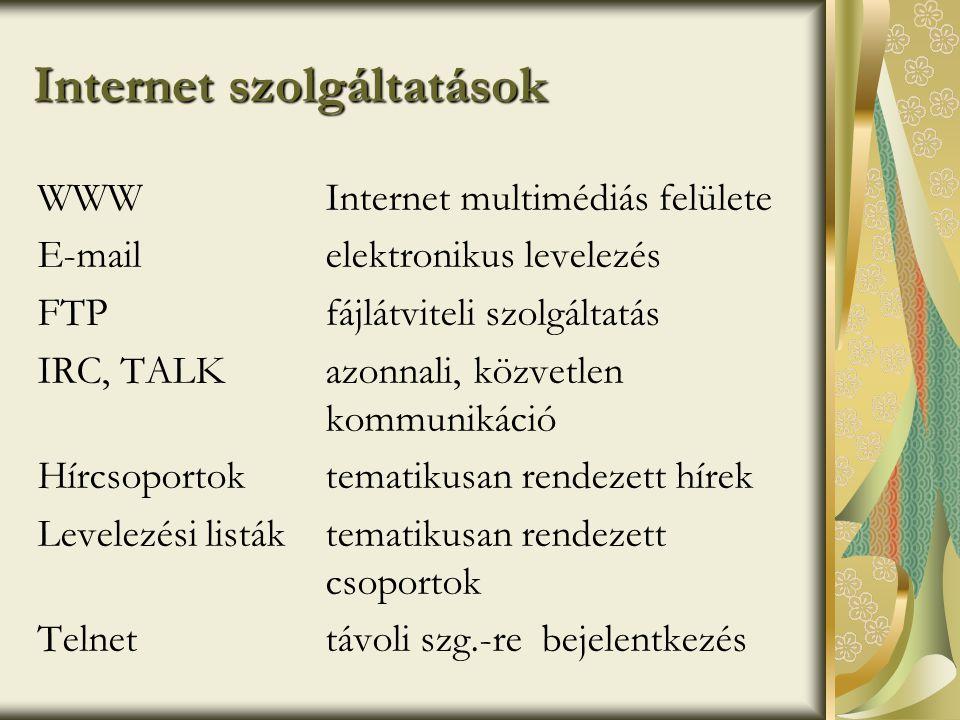 Navigáció az Interneten - HTTP •Hypertext Transfer Protocol - Ügyfél-kiszolgáló protokoll •Állapotmentes: több kérés független kezelése, elküldése, majd a kapcsolat lezárása •HTTP kapcsolat lépései: • Kapcsolat megnyitása • Kérés elküldése • Válasz • Kapcsolat lezárása