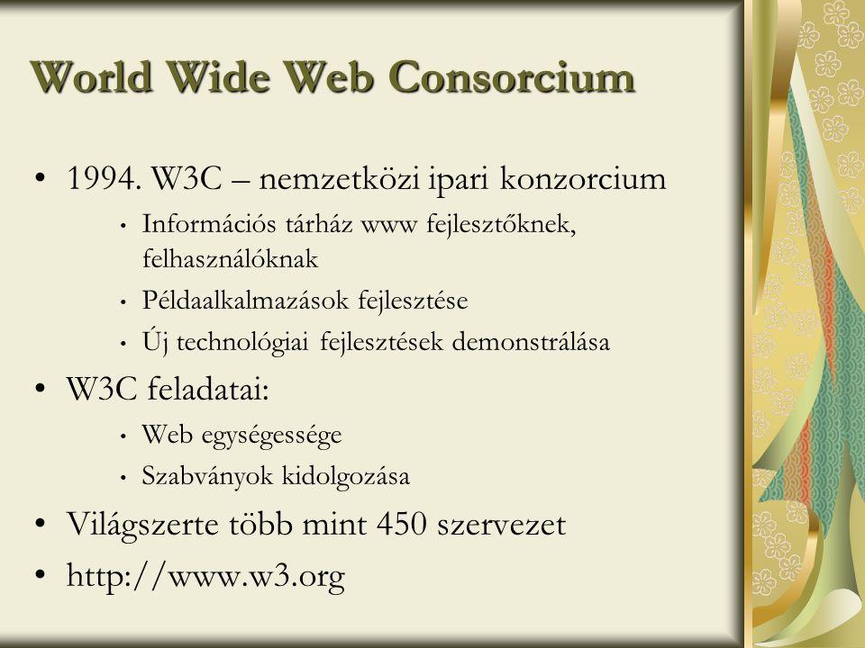 Technikai jellemzők •Internet protokollja (kommunikációs arch.) TCP/IP (Transmission Control Protocol/Internet Protocol) • jellemzői: • nyitott, gyártófüggetlen • globális • méretezhető • réteges felépítésű (alkalmazási, hálózati, stb.) • szabvány: • RFC (Request for Comments) •Szolgáltatások