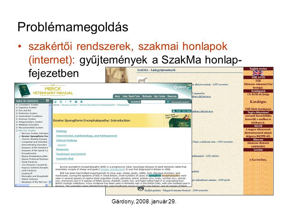 Gárdony, 2008. január 29. Problémamegoldás •szakértői rendszerek, szakmai honlapok (internet): gyűjtemények a SzakMa honlap- fejezetben –tudományos ho