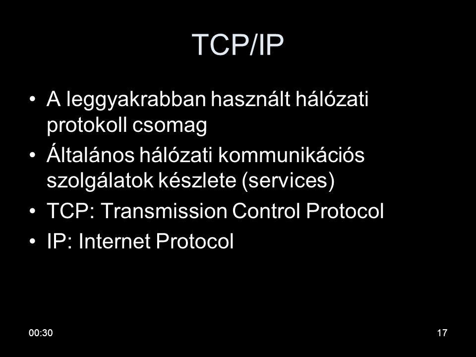00:3216 Elnevezések •Jelismétlők (repeater) –Aktív hub –Média konverter •Híd (bridge) –Switch –Layer 2 Switch •Forgalomirányító, útvonalválasztó (rout
