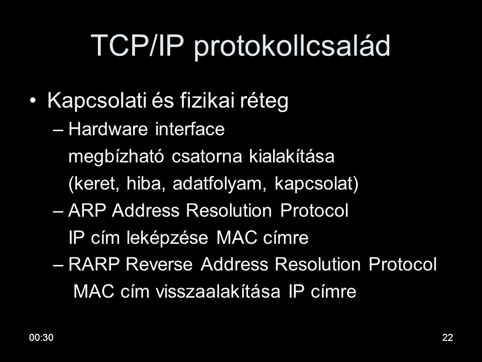 00:3221 TCP/IP protokollcsalád •Hálózati réteg –IP Internet Protocol összeköttetés mentes datagram szolgálat változó méretű csomagokra –ICMP Internet