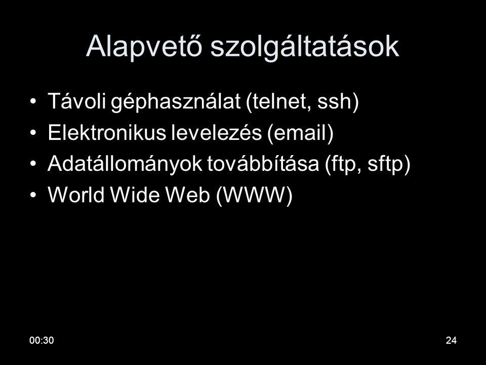 00:3223 Internet •Hálózatok hálózata •Jellemzők –Dinamikusan növekszik –TCP/IP protokollcsaládra épül –PST csomagkapcsolt technikát használ –Egységes