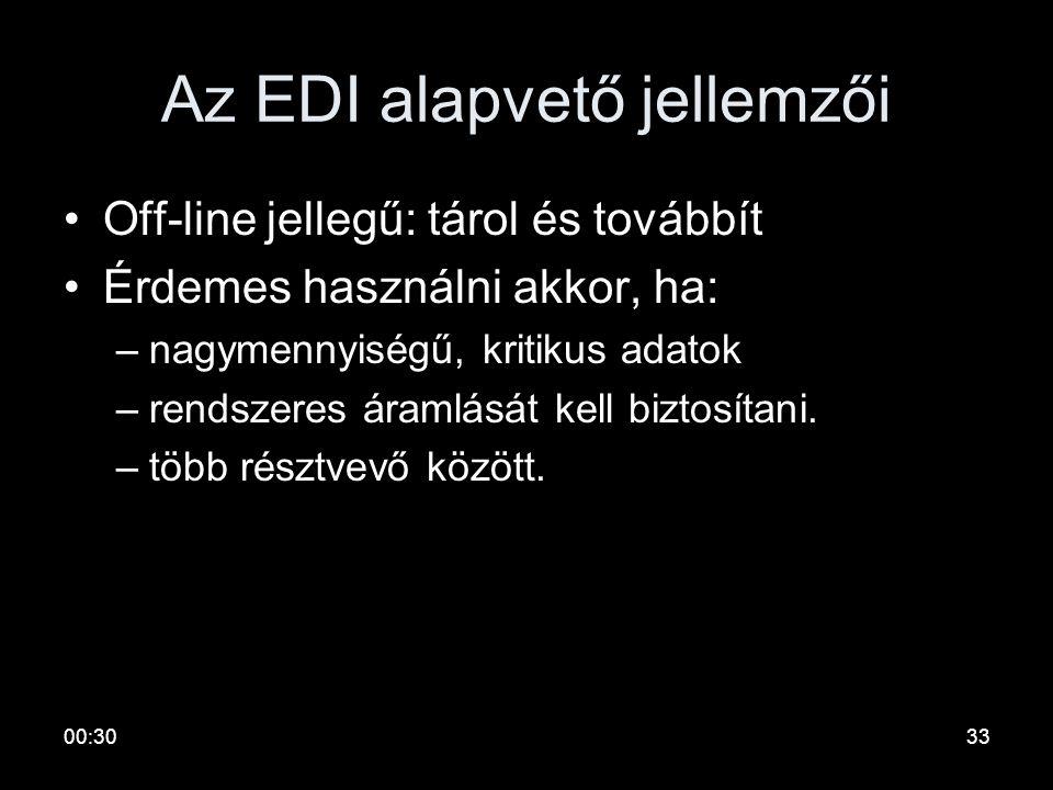 00:3232 EDI: Electronic Data Exchange •Adatkapcsolatok biztonságosan, átláthatóan •Elektronikusan –Struktúrálatlan (fax, e-mail) –Struktúrált (EDI) •E