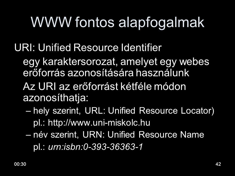 00:3241 WWW fontos alapfogalmak •HTML: Direktívákkal kiegészített szöveg. A tallózó képes megjeleníteni. A direktívák szerkesztési szabályok, hivatkoz