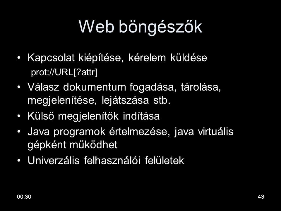 00:3242 WWW fontos alapfogalmak URI: Unified Resource Identifier egy karaktersorozat, amelyet egy webes erőforrás azonosítására használunk Az URI az e
