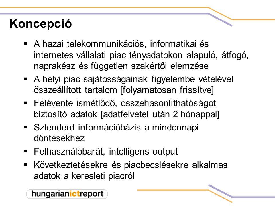 Koncepció  A hazai telekommunikációs, informatikai és internetes vállalati piac tényadatokon alapuló, átfogó, naprakész és független szakértői elemzése  A helyi piac sajátosságainak figyelembe vételével összeállított tartalom [folyamatosan frissítve]  Félévente ismétlődő, összehasonlíthatóságot biztosító adatok [adatfelvétel után 2 hónappal]  Sztenderd információbázis a mindennapi döntésekhez  Felhasználóbarát, intelligens output  Következtetésekre és piacbecslésekre alkalmas adatok a keresleti piacról