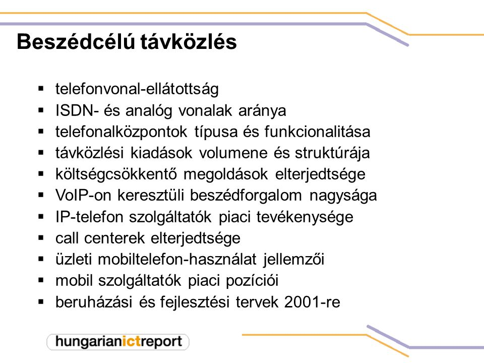 Távközlési költségvetés struktúrája