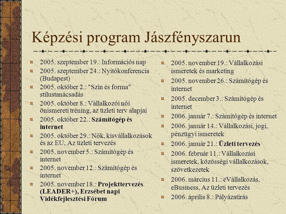 Képzési program Jászfényszarun 2005. szeptember 19.: Információs nap 2005. szeptember 24.: Nyitókonferencia (Budapest) 2005. október 2.: