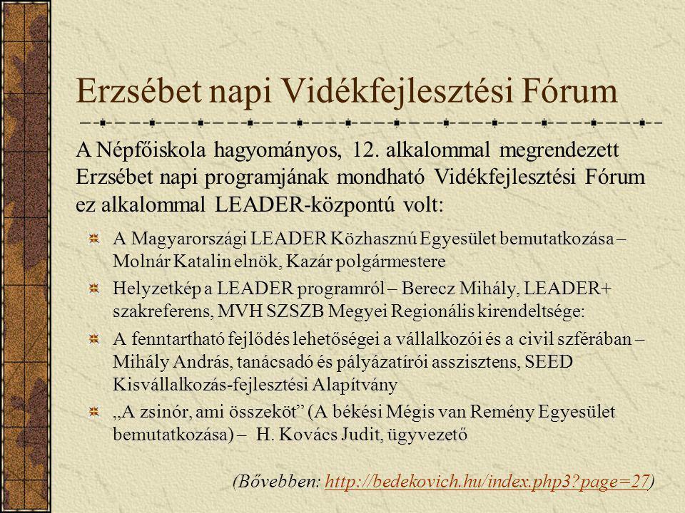 Erzsébet napi Vidékfejlesztési Fórum A Magyarországi LEADER Közhasznú Egyesület bemutatkozása – Molnár Katalin elnök, Kazár polgármestere Helyzetkép a