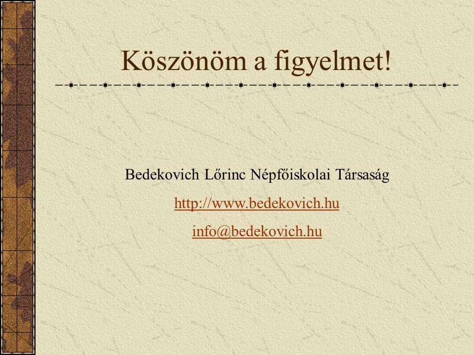 Köszönöm a figyelmet! Bedekovich Lőrinc Népfőiskolai Társaság http://www.bedekovich.hu info@bedekovich.hu