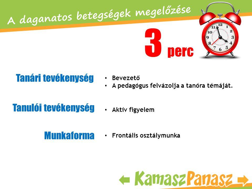 3 perc Tanári tevékenység Tanulói tevékenység Munkaforma • Bevezető • A pedagógus felvázolja a tanóra témáját. • Aktív figyelem • Frontális osztálymun