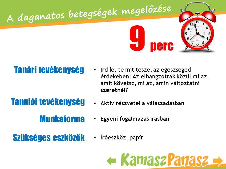 9 perc Tanári tevékenység Tanulói tevékenység Munkaforma • Írd le, te mit teszel az egészséged érdekében! Az elhangzottak közül mi az, amit követsz, m