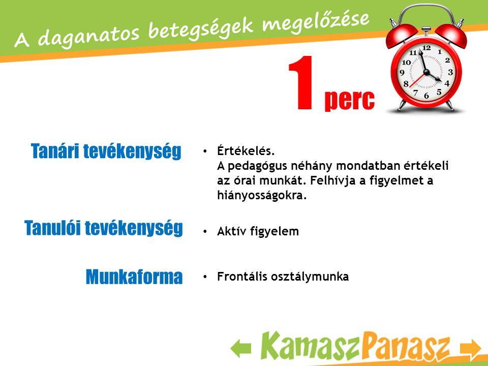 1 perc Tanári tevékenység Tanulói tevékenység Munkaforma • Értékelés. A pedagógus néhány mondatban értékeli az órai munkát. Felhívja a figyelmet a hiá