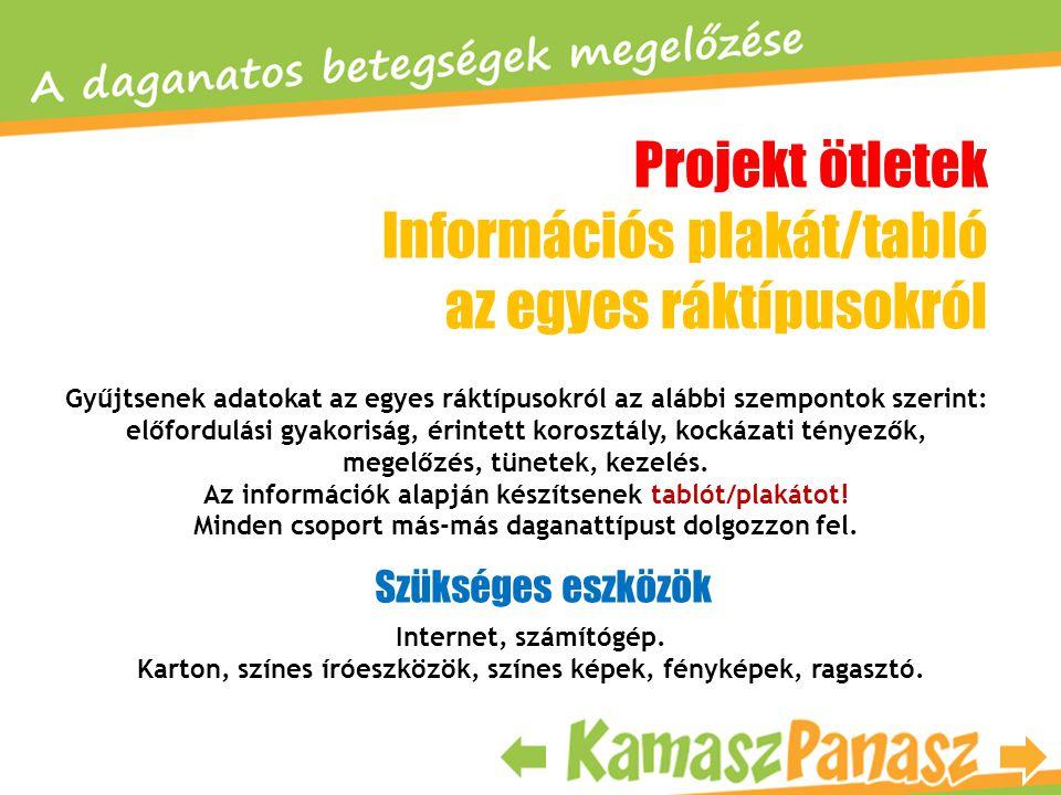 Projekt ötletek Információs plakát/tabló az egyes ráktípusokról Gyűjtsenek adatokat az egyes ráktípusokról az alábbi szempontok szerint: előfordulási
