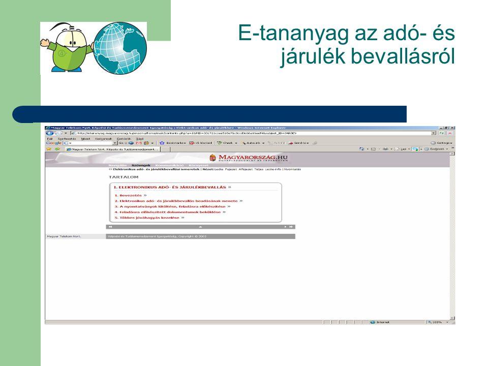 E-tananyag az adó- és járulék bevallásról