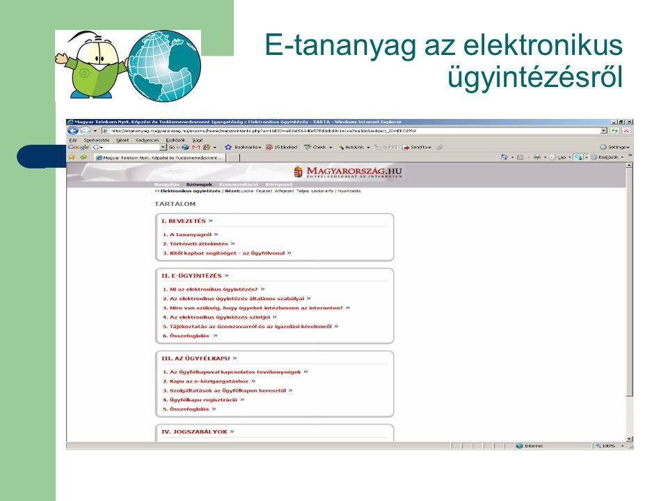 E-tananyag az elektronikus ügyintézésről