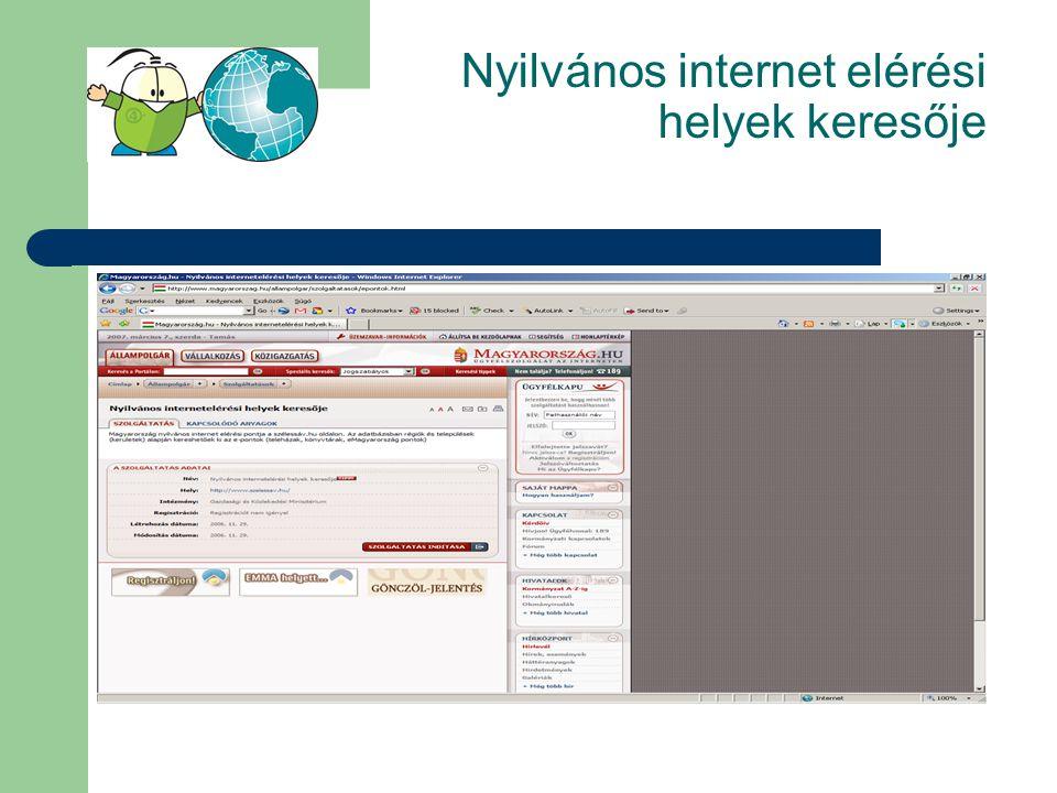 Nyilvános internet elérési helyek keresője