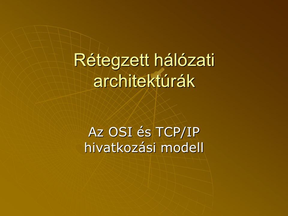 Hálózati vagy Internet réteg (internet layer)  OSI-ban: Hálózati réteg  Meghatározó protokollja: •IP (Internet Protocol)  Csomagokat továbbít a hálózaton.