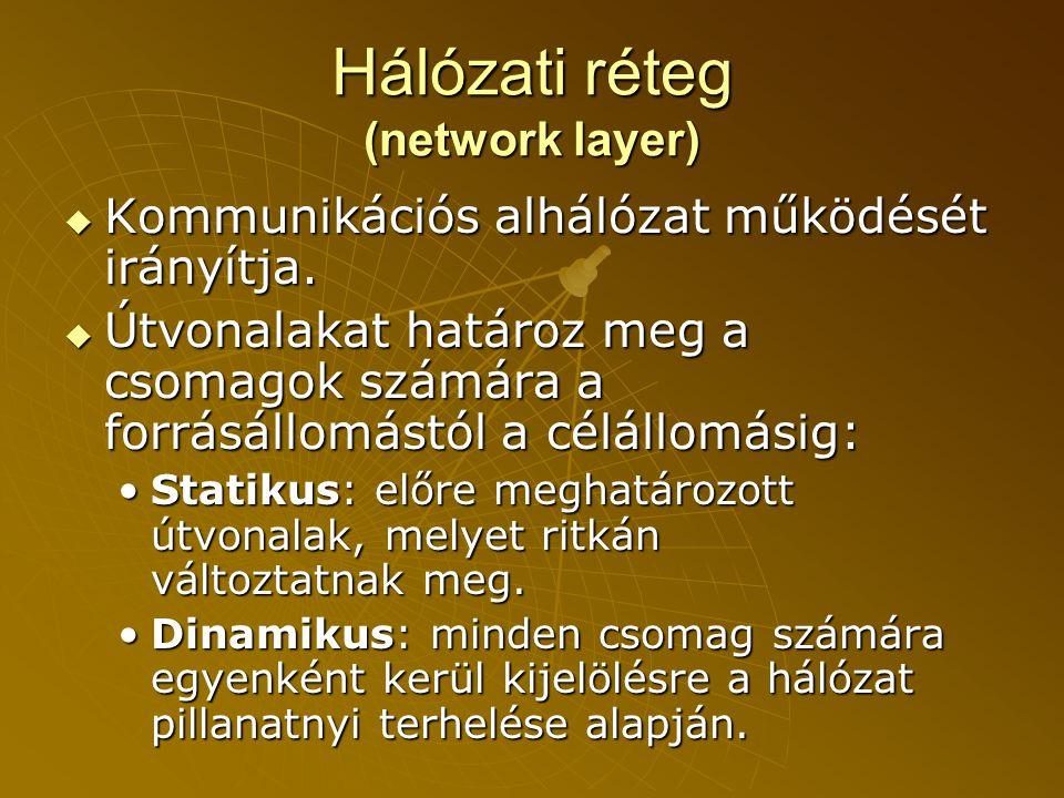 Hálózati réteg (network layer)  Kommunikációs alhálózat működését irányítja.