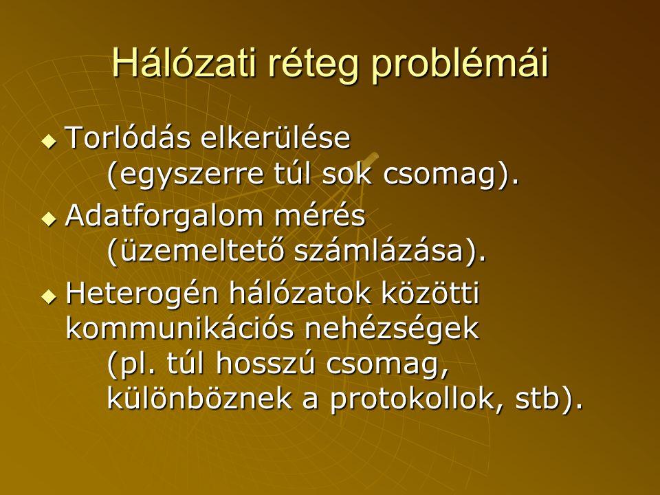 Hálózati réteg problémái  Torlódás elkerülése (egyszerre túl sok csomag).