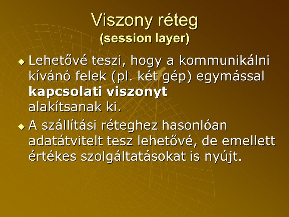 Viszony réteg (session layer)  Lehetővé teszi, hogy a kommunikálni kívánó felek (pl.