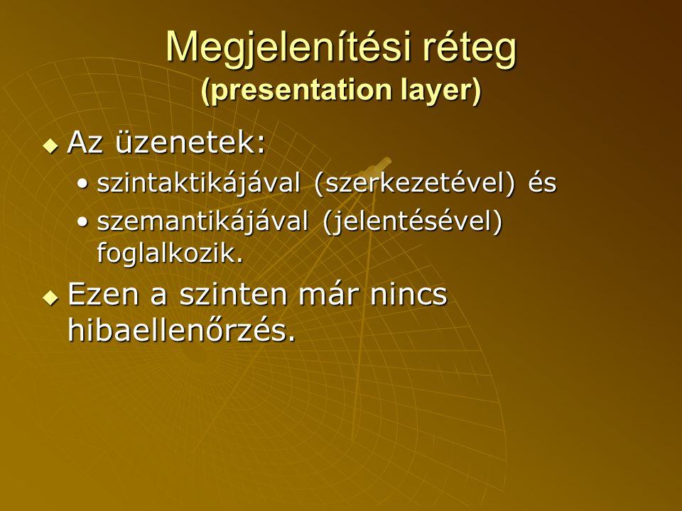 Megjelenítési réteg (presentation layer)  Az üzenetek: •szintaktikájával (szerkezetével) és •szemantikájával (jelentésével) foglalkozik.