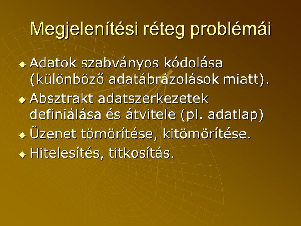 Megjelenítési réteg problémái  Adatok szabványos kódolása (különböző adatábrázolások miatt).