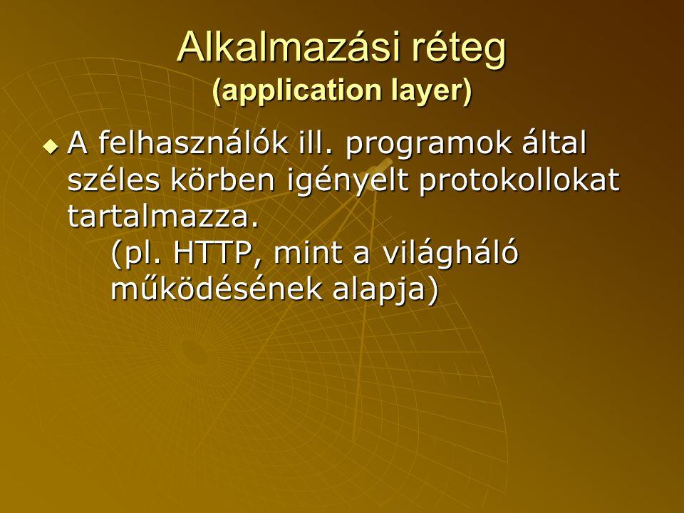 Alkalmazási réteg (application layer)  A felhasználók ill.