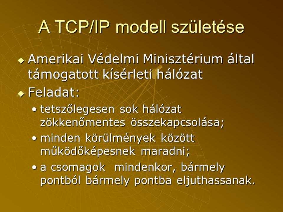 A TCP/IP modell születése  Amerikai Védelmi Minisztérium által támogatott kísérleti hálózat  Feladat: •tetszőlegesen sok hálózat zökkenőmentes összekapcsolása; •minden körülmények között működőképesnek maradni; •a csomagok mindenkor, bármely pontból bármely pontba eljuthassanak.