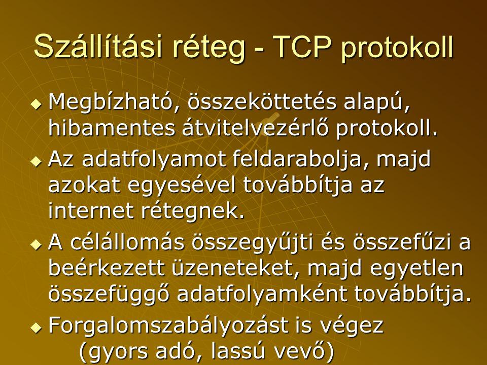 Szállítási réteg - TCP protokoll  Megbízható, összeköttetés alapú, hibamentes átvitelvezérlő protokoll.