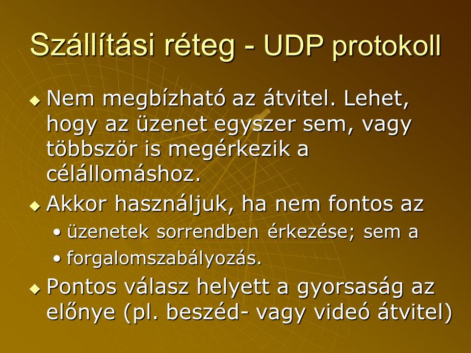 Szállítási réteg - UDP protokoll  Nem megbízható az átvitel.