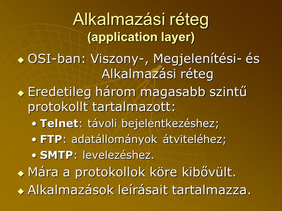 Alkalmazási réteg (application layer)  OSI-ban: Viszony-, Megjelenítési- és Alkalmazási réteg  Eredetileg három magasabb szintű protokollt tartalmazott: •Telnet: távoli bejelentkezéshez; •FTP: adatállományok átviteléhez; •SMTP: levelezéshez.