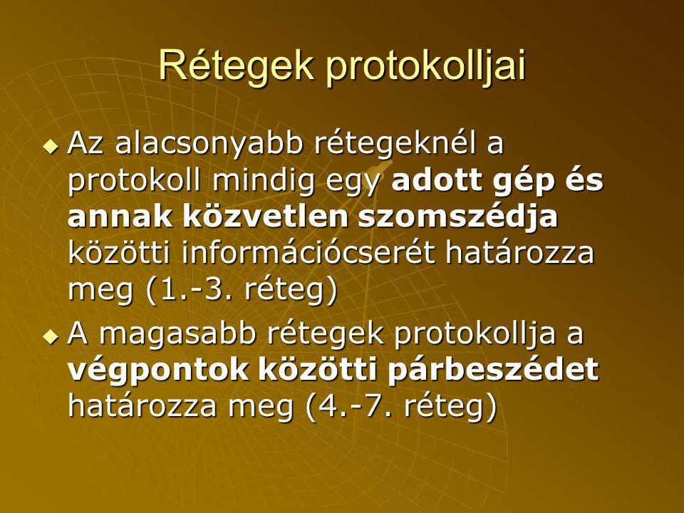 Rétegek protokolljai  Az alacsonyabb rétegeknél a protokoll mindig egy adott gép és annak közvetlen szomszédja közötti információcserét határozza meg (1.-3.