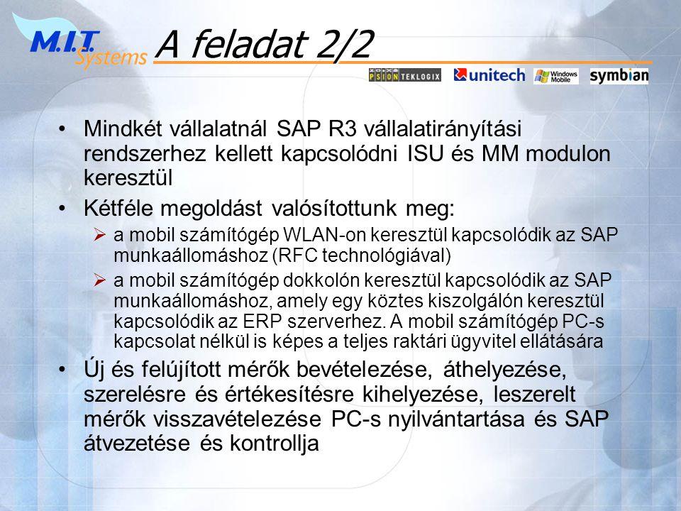 A feladat 2/2 •Mindkét vállalatnál SAP R3 vállalatirányítási rendszerhez kellett kapcsolódni ISU és MM modulon keresztül •Kétféle megoldást valósítottunk meg:  a mobil számítógép WLAN-on keresztül kapcsolódik az SAP munkaállomáshoz (RFC technológiával)  a mobil számítógép dokkolón keresztül kapcsolódik az SAP munkaállomáshoz, amely egy köztes kiszolgálón keresztül kapcsolódik az ERP szerverhez.