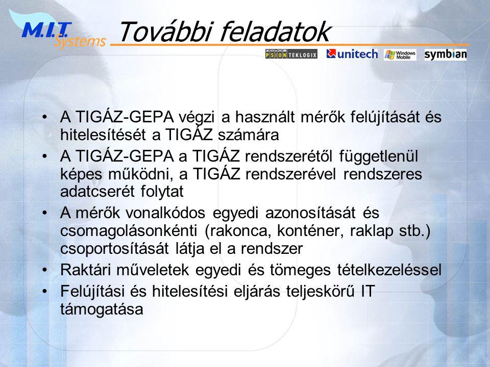 További feladatok •A TIGÁZ-GEPA végzi a használt mérők felújítását és hitelesítését a TIGÁZ számára •A TIGÁZ-GEPA a TIGÁZ rendszerétől függetlenül képes működni, a TIGÁZ rendszerével rendszeres adatcserét folytat •A mérők vonalkódos egyedi azonosítását és csomagolásonkénti (rakonca, konténer, raklap stb.) csoportosítását látja el a rendszer •Raktári műveletek egyedi és tömeges tételkezeléssel •Felújítási és hitelesítési eljárás teljeskörű IT támogatása
