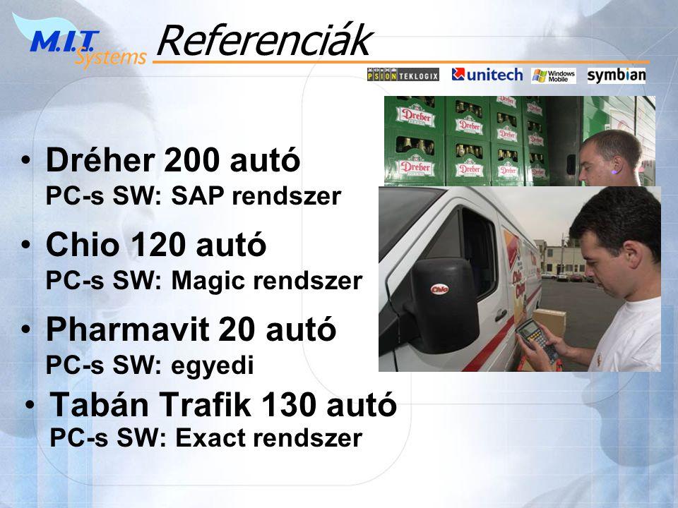 •Tabán Trafik 130 autó PC-s SW: Exact rendszer •Dréher 200 autó PC-s SW: SAP rendszer •Chio 120 autó PC-s SW: Magic rendszer •Pharmavit 20 autó PC-s SW: egyedi Referenciák