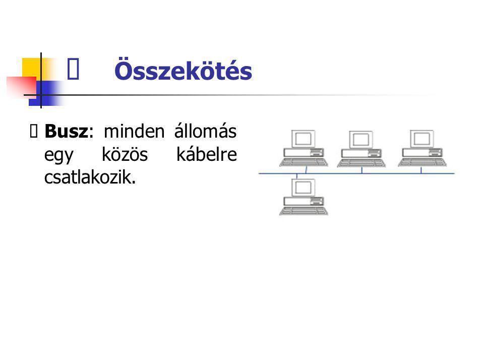  Összekötés  Busz: minden állomás egy közös kábelre csatlakozik.