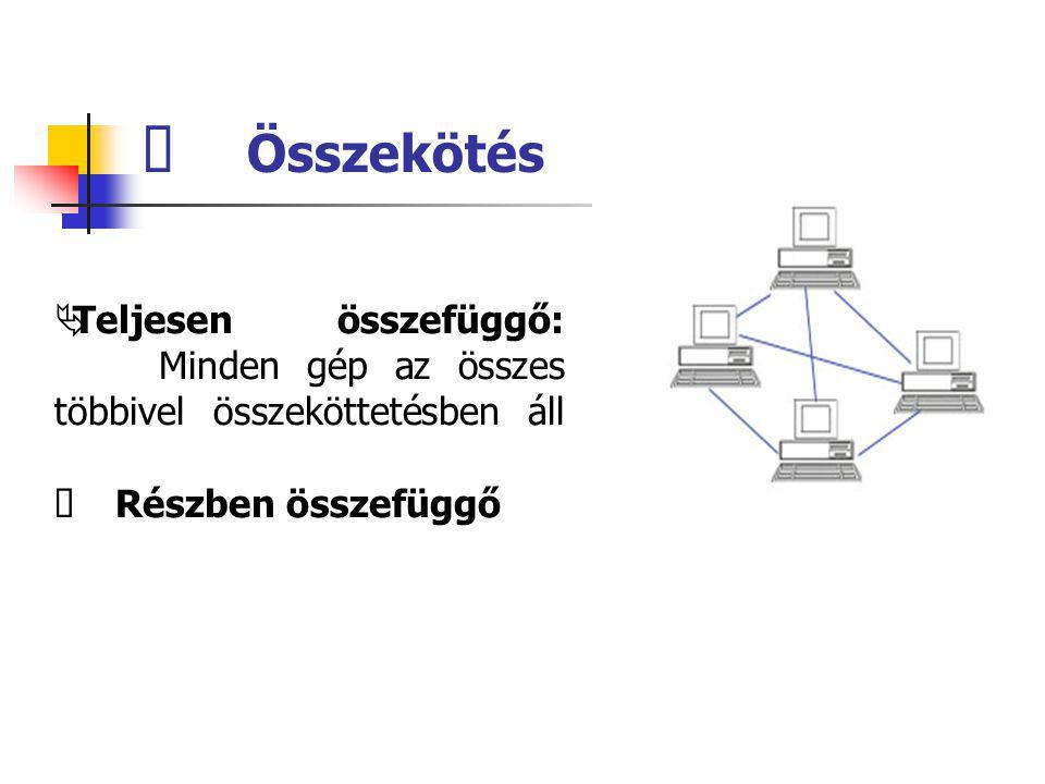  Teljesen összefüggő: Minden gép az összes többivel összeköttetésben áll  Részben összefüggő  Összekötés