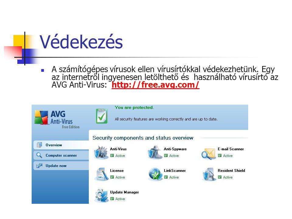 Védekezés  A számítógépes vírusok ellen vírusírtókkal védekezhetünk.