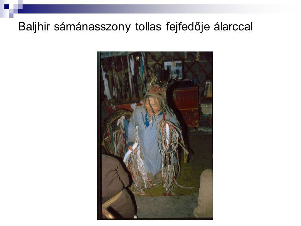 Baljhir sámánasszony tollas fejfedője álarccal