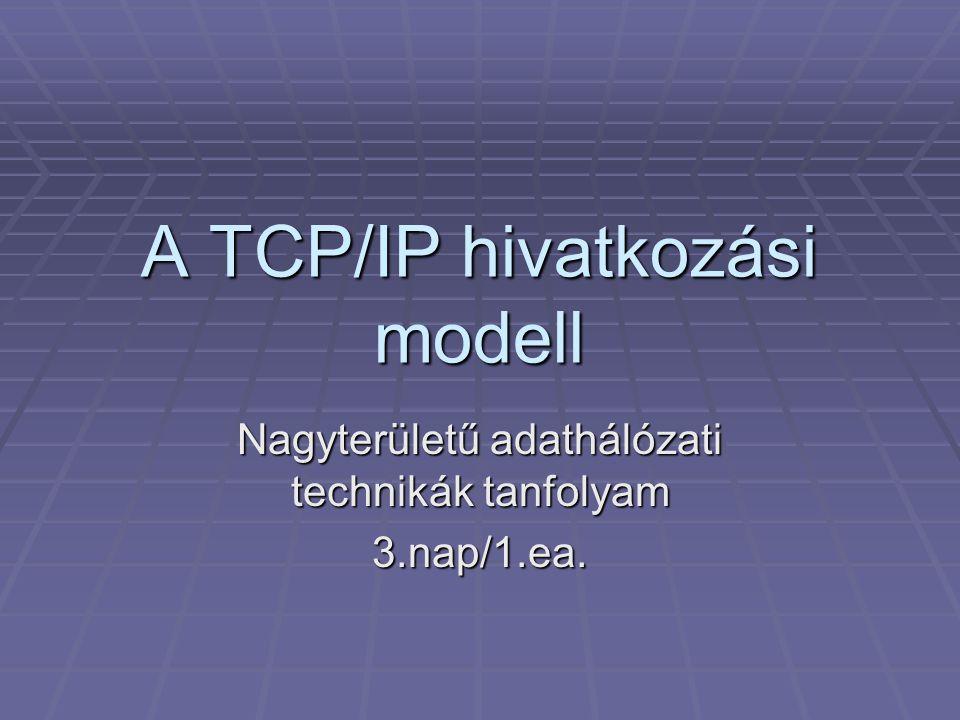 A TCP/IP hivatkozási modell Nagyterületű adathálózati technikák tanfolyam 3.nap/1.ea.