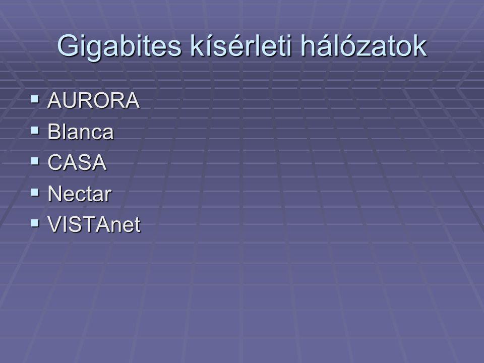 Gigabites kísérleti hálózatok  AURORA  Blanca  CASA  Nectar  VISTAnet