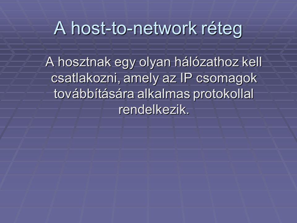 A host-to-network réteg A hosztnak egy olyan hálózathoz kell csatlakozni, amely az IP csomagok továbbítására alkalmas protokollal rendelkezik.