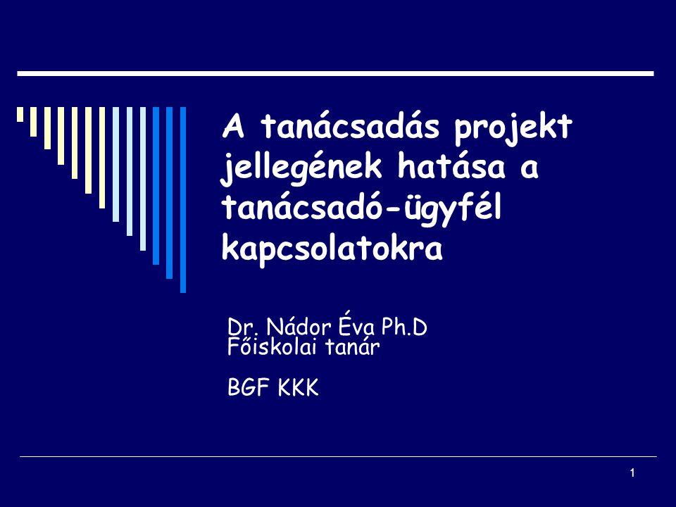 1 A tanácsadás projekt jellegének hatása a tanácsadó-ügyfél kapcsolatokra Dr.