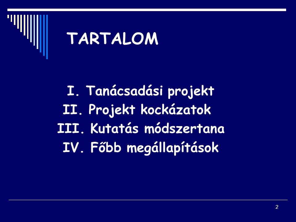 2 TARTALOM I. Tanácsadási projekt II. Projekt kockázatok III.