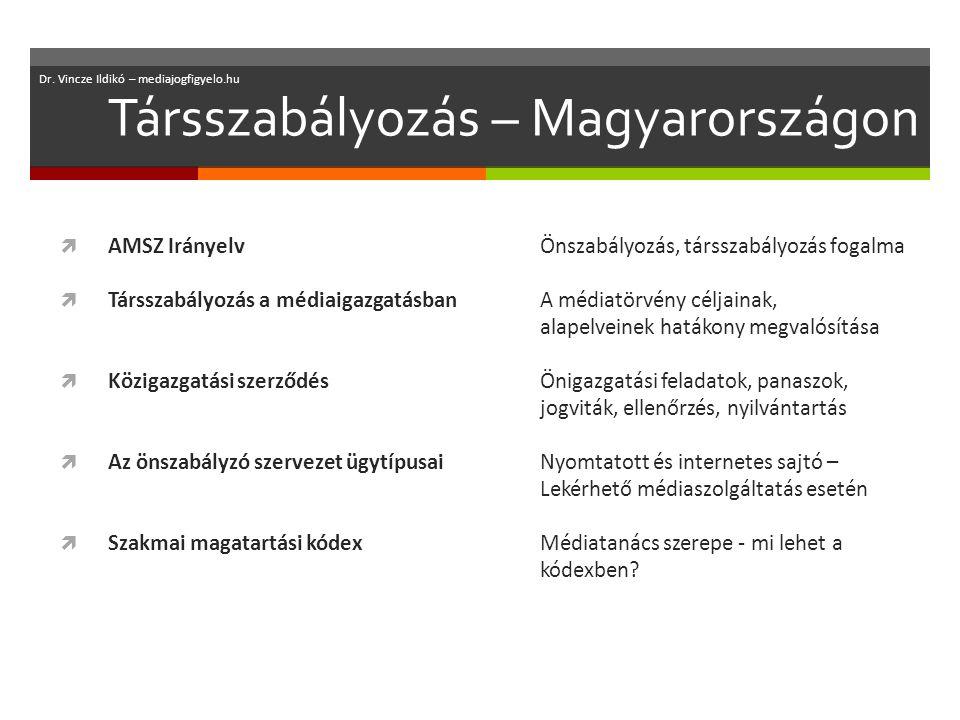 Társszabályozás – Magyarországon  AMSZ IrányelvÖnszabályozás, társszabályozás fogalma  Társszabályozás a médiaigazgatásbanA médiatörvény céljainak, alapelveinek hatákony megvalósítása  Közigazgatási szerződésÖnigazgatási feladatok, panaszok, jogviták, ellenőrzés, nyilvántartás  Az önszabályzó szervezet ügytípusaiNyomtatott és internetes sajtó – Lekérhető médiaszolgáltatás esetén  Szakmai magatartási kódexMédiatanács szerepe - mi lehet a kódexben.