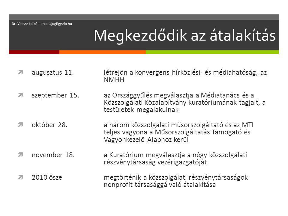 Megkezdődik az átalakítás  augusztus 11.létrejön a konvergens hírközlési- és médiahatóság, az NMHH  szeptember 15.az Országgyűlés megválasztja a Médiatanács és a Közszolgálati Közalapítvány kuratóriumának tagjait, a testületek megalakulnak  október 28.a három közszolgálati műsorszolgáltató és az MTI teljes vagyona a Műsorszolgáltatás Támogató és Vagyonkezelő Alaphoz kerül  november 18.a Kuratórium megválasztja a négy közszolgálati részvénytársaság vezérigazgatóját  2010 őszemegtörténik a közszolgálati részvénytársaságok nonprofit társasággá való átalakítása Dr.