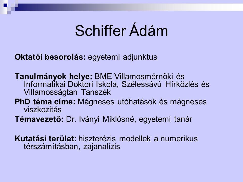 Schiffer Ádám Oktatói besorolás: egyetemi adjunktus Tanulmányok helye: BME Villamosmérnöki és Informatikai Doktori Iskola, Szélessávú Hírközlés és Vil