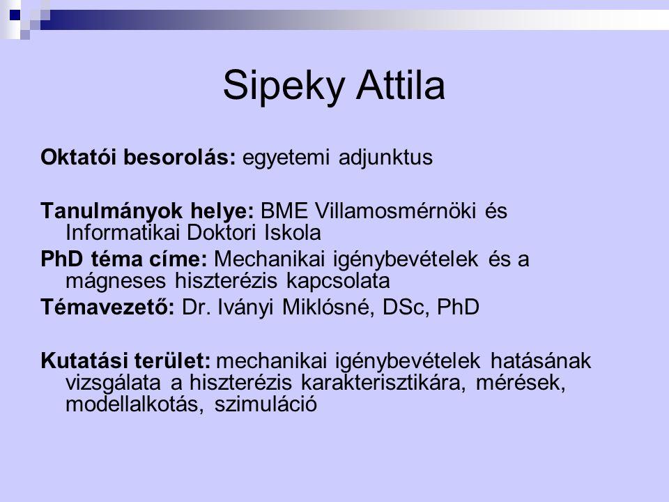 Sipeky Attila Oktatói besorolás: egyetemi adjunktus Tanulmányok helye: BME Villamosmérnöki és Informatikai Doktori Iskola PhD téma címe: Mechanikai ig